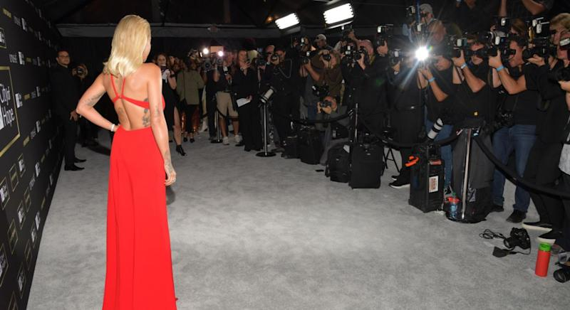 Rita Ora uses this trick to make herself look curvier on the red carpet. [Photo: Getty]