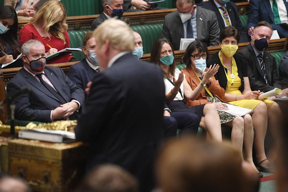 Members of the opposition during a debate on Afghanistan on 6 September.
