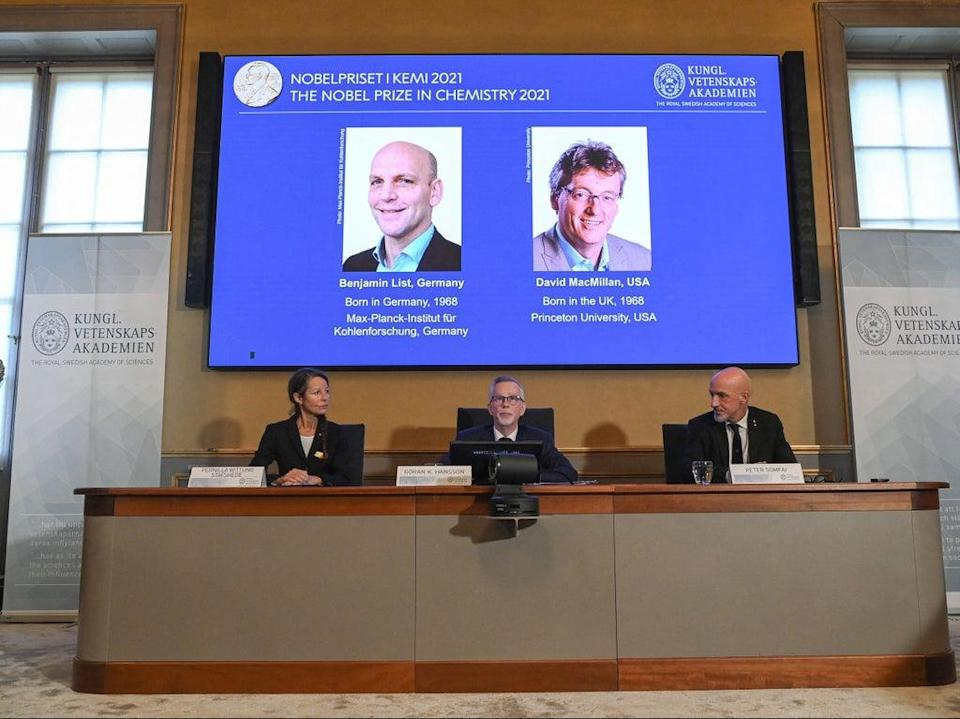 Winners of the 2021 Nobel Prize in Chemistry were announced on Wednesday for their development of a precise new tool for molecular construction: organocatalysis (AFP via Getty)