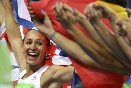 2016 Rio Olympics - Athletics - Final - Women's Heptathlon 800m - Olympic Stadium - Rio de Janeiro, Brazil - 13/08/2016. Jessica Ennis-Hill (GBR) of Britain celebrates her silver medal after the event. REUTERS/Ivan Alvarado