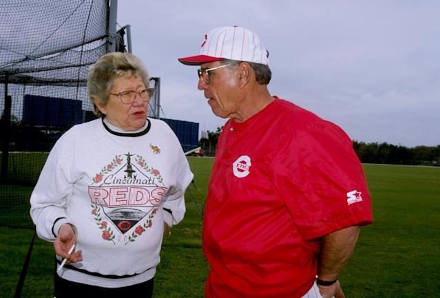 Marge Schott's name will be removed from the baseball stadium at the University of Cincinnati. (Rick Stewart /Allsport)