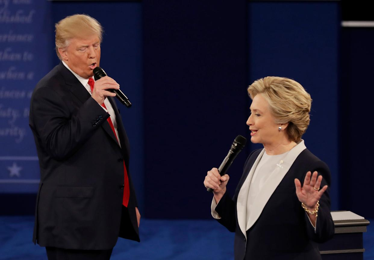 President Donald Trump and Hillary Clinton during a debate in 2016.
