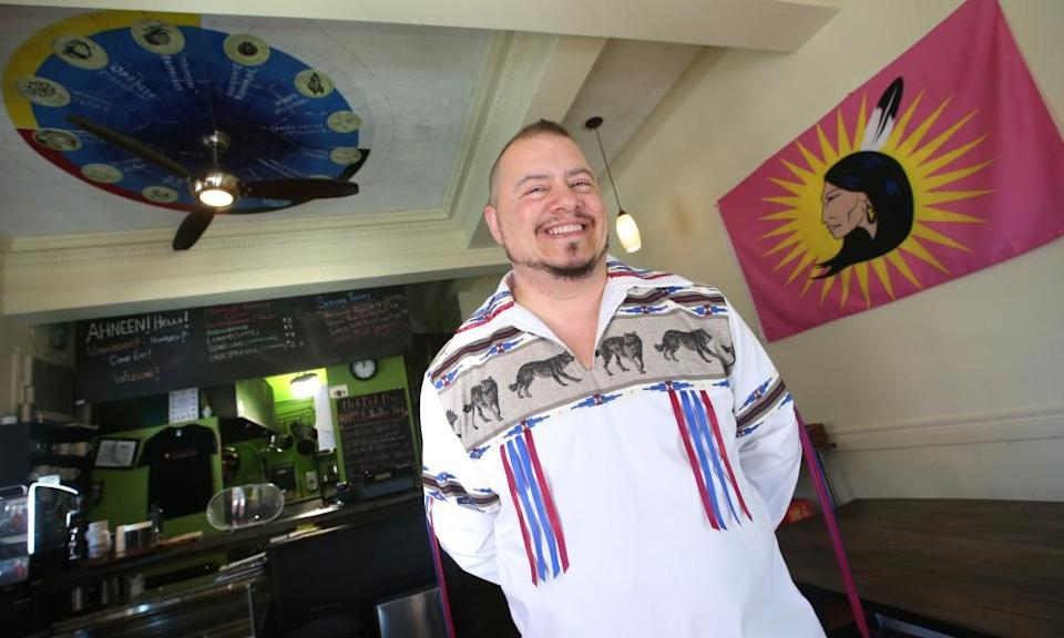 """Johl Whiteduck Ringuette, the chef at NishDish, swaps ingredients such as cheese for indigenous ingredients such as beans, corn and squash. """"There were no cows here,"""" he said."""