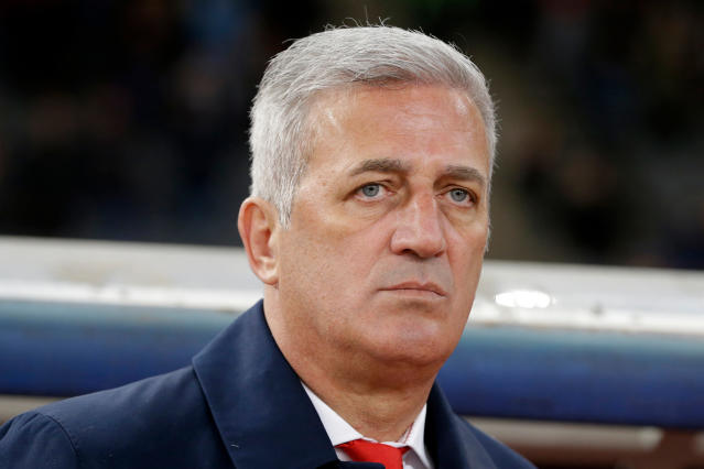 In this photo taken on Friday, March 23, 2018, Switzerland coach Vladimir Petkovic stands for the national anthem of his team before an international friendly soccer match against Greece at the Olympic stadium in Athens. (AP Photo/Thanassis Stavrakis)