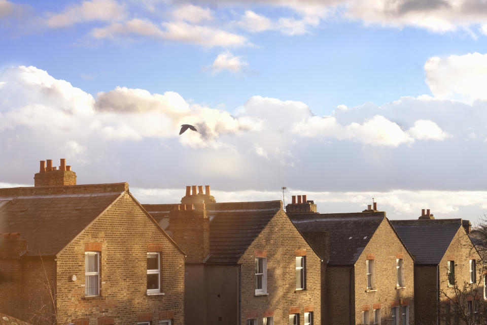 A row of terraced house rooftops