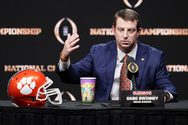 Clemson head coach Dabo Swinney speaks at a news conference for the NCAA College Football Playoff national championship game Sunday, Jan. 12, 2020, in New Orleans. Clemson is scheduled to play LSU on Monday. (AP Photo/Chris Carlson)