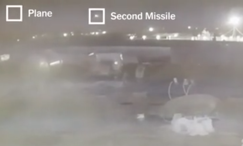 Pictured is a screenshot from a video showing the second Iranian missile heading straight for the Ukraine International Airlines plane.