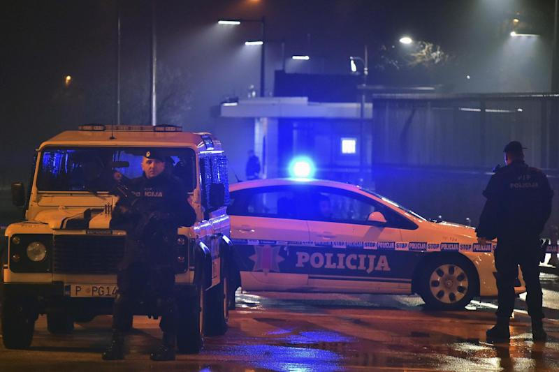 US embassy explosion: Police block off the area after an attacker threw a grenade towards the building: AP