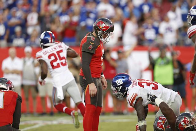 Tampa Bay Buccaneers kicker Matt Gay looks down dejectedly after his costly miss against the Giants. (Getty)