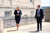 Paul Givan and Michelle O'Neill outside Parliament Buildings after they were nominated First Minister and deputy First Minister respectively