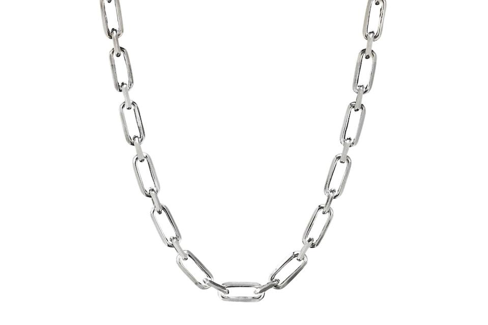 """$1000, David Yurman. <a href=""""https://www.davidyurman.com/products/mens/mens-necklaces-and-chains/elongated-open-link-chain-ch0471mss.pdp.html?swatchCode=CH0471MSSZZZ"""" rel=""""nofollow noopener"""" target=""""_blank"""" data-ylk=""""slk:Get it now!"""" class=""""link rapid-noclick-resp"""">Get it now!</a>"""