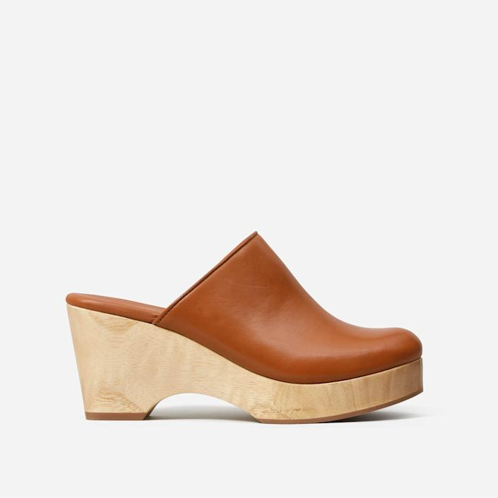 """<p><strong>everlane</strong></p><p>everlane.com</p><p><strong>$98.00</strong></p><p><a href=""""https://go.redirectingat.com?id=74968X1596630&url=https%3A%2F%2Fwww.everlane.com%2Fproducts%2Fwomens-clog-cognac&sref=https%3A%2F%2Fwww.goodhousekeeping.com%2Fclothing%2Fg30633786%2Fspring-shoes-trends%2F"""" rel=""""nofollow noopener"""" target=""""_blank"""" data-ylk=""""slk:Shop Now"""" class=""""link rapid-noclick-resp"""">Shop Now</a></p><p>Clogs are back! Not only can you wear this pair with your favorite dress or skit, you can also wear it in the fall with your jeans. </p>"""