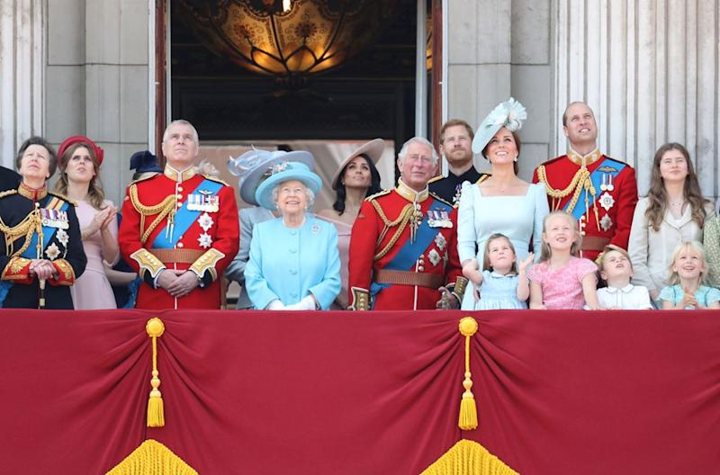 Prince Charles on the Buckingham Palace balcony with grandchildren Prince George and Princes Charlotte.