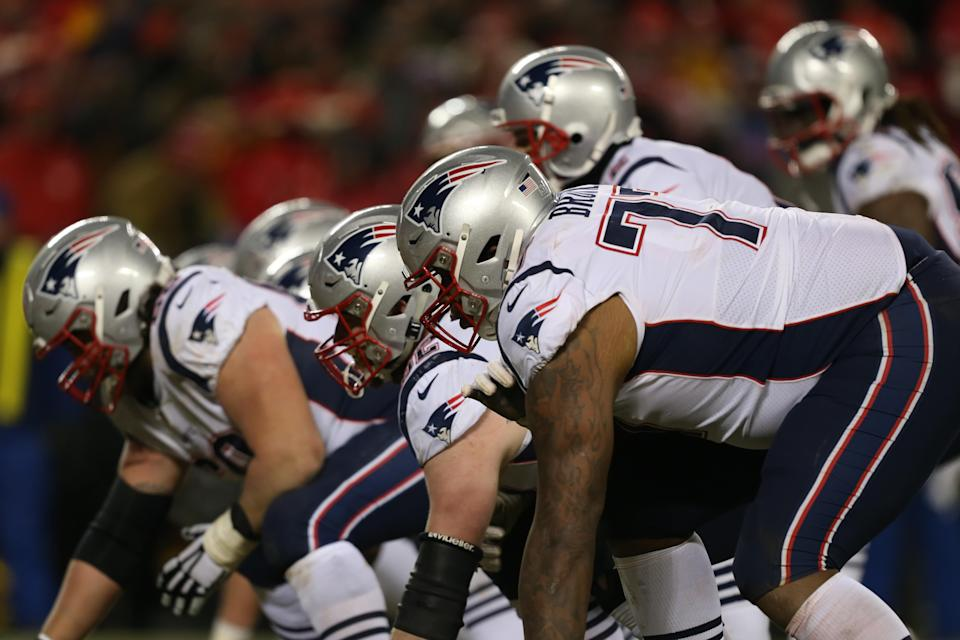 The Patriots traded for left tackle Trent Brown last April, a deal that has worked out tremendously for New England. (Getty Images)