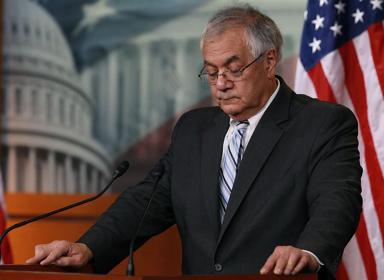 WASHINGTON, DC - NOVEMBER 29:  Rep. Barney Frank (D-MA),talks about his announcement to not seek re-election, during a news conference at the U.S. Capitol, on November 29, 2011. Yesterday Rep. Frank who has served in Congress since 1981 announced that he would not seek reelection in the House of Representatives in 2012.  (Photo by Mark Wilson/Getty Images)