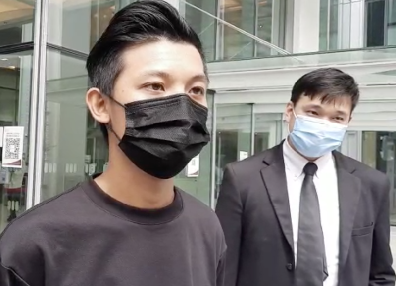Chan Jia Xing speaks to media outside State Courts after being given a discharge not amounting to an acquittal. (PHOTO: Wan Ting Koh/ Yahoo News Singapore)