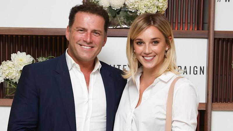 Karl Stefanovic and his 'wife' Jasmine Yarbrough live a rather ordinary life it seems, seen here at their first event together. Source: Getty
