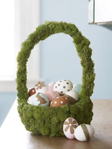 """<p>Let the basket do the talking: Stick twine-wrapped and paper-embellished eggs in this woodsy, moss-covered creation. To make, simply hot-glue craft-store moss to an inexpensive basket.</p><p><a class=""""link rapid-noclick-resp"""" href=""""https://www.amazon.com/Super-Moss-59834-23310-B00I6AKFI8/dp/B00I6AKFI8/?tag=syn-yahoo-20&ascsubtag=%5Bartid%7C10055.g.480%5Bsrc%7Cyahoo-us"""" rel=""""nofollow noopener"""" target=""""_blank"""" data-ylk=""""slk:SHOP MOSS"""">SHOP MOSS</a></p>"""