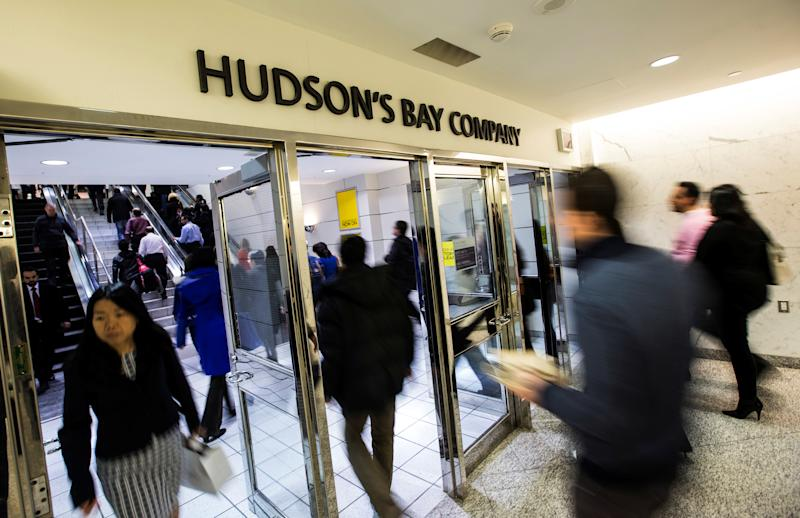 "People walk into the Hudson's Bay Company (HBC) flagship department store in Toronto January 27, 2014. REUTERS/Mark Blinch/File Photo GLOBAL BUSINESS WEEK AHEAD PACKAGE - SEARCH ""BUSINESS WEEK AHEAD JUNE 6"" FOR ALL IMAGES"