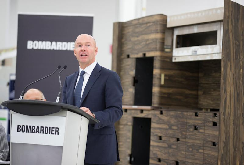 Alain Bellemare, President and CEO of Bombardier Inc., speaks during a news conference on the acceleration of Global 7000 business jet aircraft interior completion operations and the inauguration of the new Bombardier Centre of Excellence in Pointe-Claire, Quebec, Canada, November 17, 2017. REUTERS/Christinne Muschi