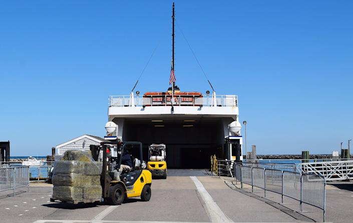 Supplies arrive via ferry to Block Island on March 26. (Photo: Kari Curtis for HuffPost)
