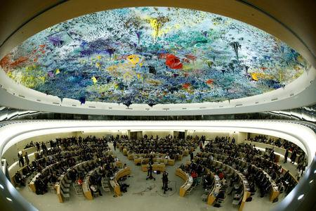 FILE PHOTO: Overview of the United Nations Human Rights Council is seen in Geneva