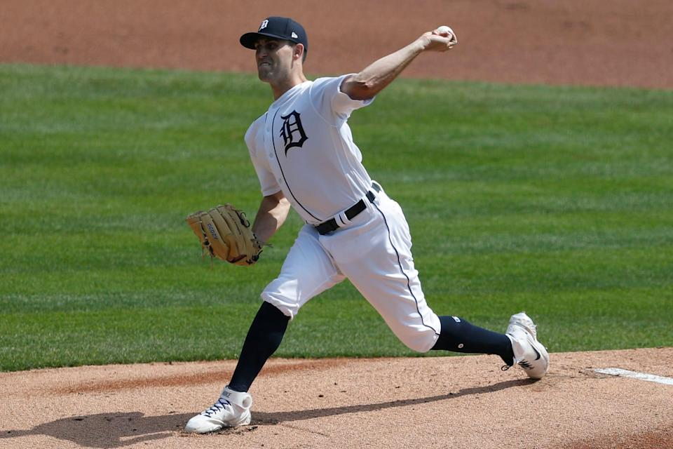 Detroit Tigers starting pitcher Matthew Boyd (48) pitches during the first inning April 7, 2021, against the Minnesota Twins at Comerica Park.