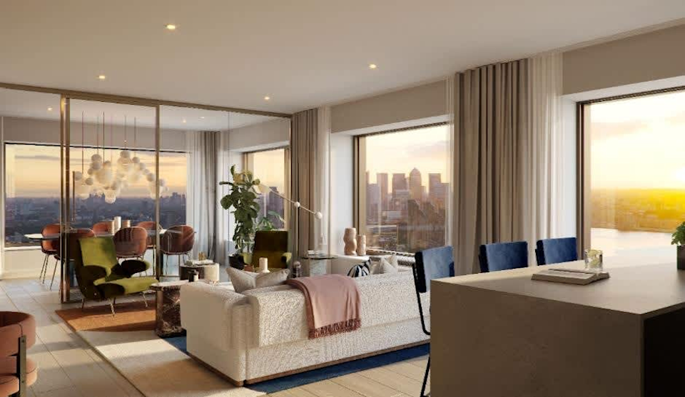 The show unit of a three-bedroom apartment at the Riverscape development. Photo: JLL