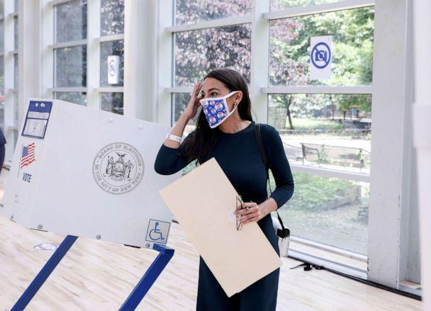 PHOTO: Rep. Alexandria Ocasio-Cortez votes early in the Democratic congressional primary election at the Justice Sonia Sotomayor Community Center in the Bronx borough of New York, June 20, 2020. (Caitlin Ochs/Reuters)