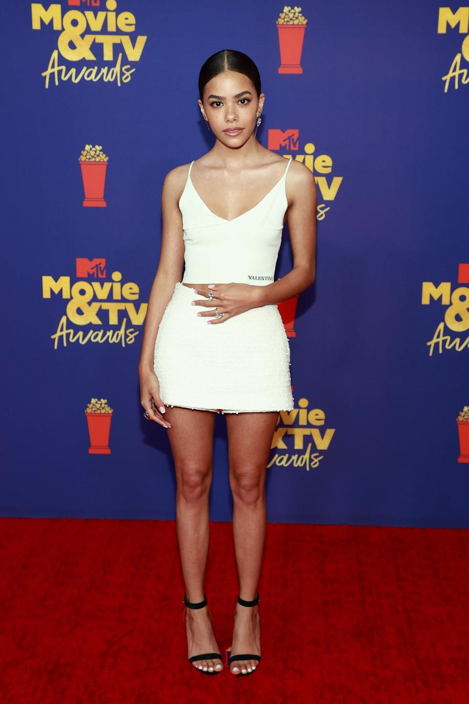 <p>Wearing a Valentino look with Christian Louboutin sandals and Messika jewels.</p>
