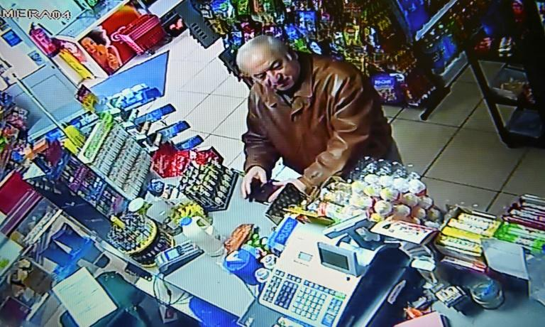 Former Russian double agent Sergei Skripal seen buying groceries at a corner shop in Salisbury just days before he was poisoned along with his daughter