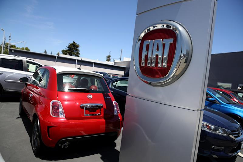 BURLINGAME, CALIFORNIA - JUNE 06: The Fiat logo is displayed on a car at a Fiat dealership on June 06, 2019 in Burlingame, California. Fiat Chrysler announced that it has withdrawn a proposal to merge with French automaker Renault. (Photo by Justin Sullivan/Getty Images)