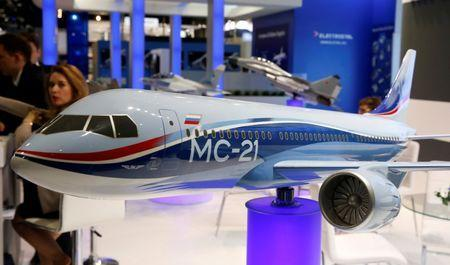 A model of the Russian Irkut MC-21 aircraft is is pictured at the ILA Berlin Air Show in Schoenefeld, south of Berlin, Germany, June 1, 2016. REUTERS/Fabrizio Bensch