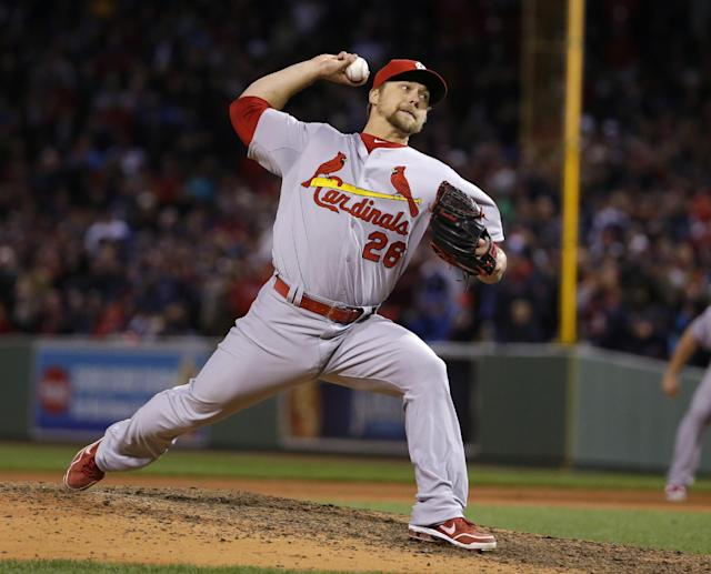 St. Louis Cardinals relief pitcher Trevor Rosenthal throws during the ninth inning of Game 2 of baseball's World Series against the Boston Red Sox Thursday, Oct. 24, 2013, in Boston. (AP Photo/Matt Slocum)