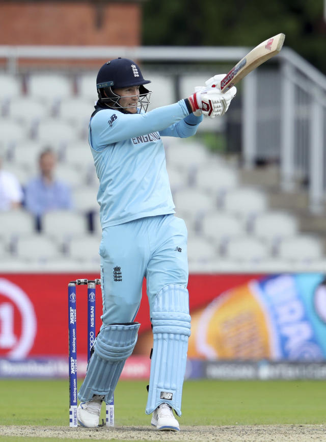England's Joe Root bats during the Cricket World Cup match between England and Afghanistan at Old Trafford in Manchester, England, Tuesday, June 18, 2019. (AP Photo/Rui Vieira)