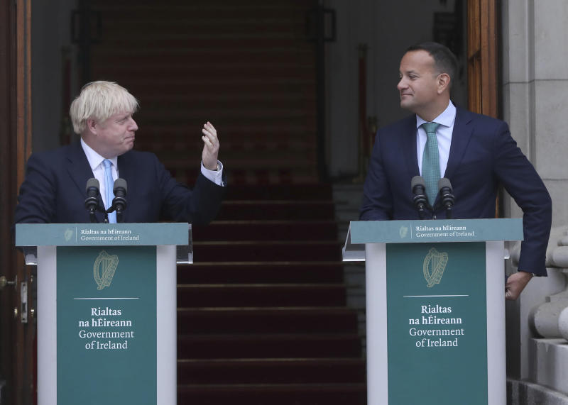 Britain's Prime Minister Boris Johnson, left, meets with Ireland's Prime Minister Leo Varadkar at Government Buildings in Dublin, Monday Sept. 9, 2019. Boris Johnson is to meet with Leo Varadkar in search of a compromise on the simmering Brexit crisis. (Niall Carson/PA via AP)