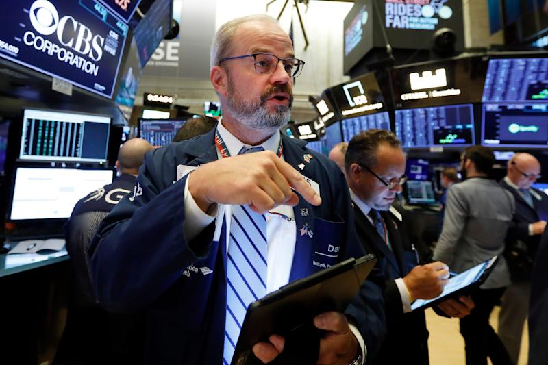 Trader David O'Day works on the floor of the New York Stock Exchange, Monday, Aug. 19, 2019. Technology stocks were leading indexes higher on Wall Street after the U.S. gave Chinese telecom giant Huawei another 90 days to buy equipment from American suppliers.