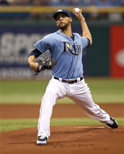 Tampa Bay Rays starting pitcher David Price throws during the first inning of a baseball game against the Cleveland Indians Sunday April 7, 2013, in St. Petersburg, Fla. (AP Photo/Mike Carlson)