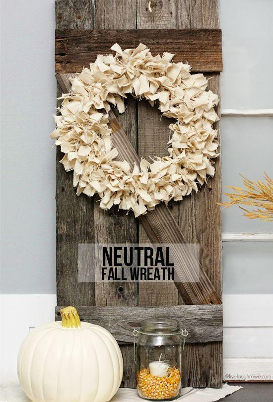 """<p>Add an air of relaxed elegance to an entryway or dining room with this drop cloth-inspired wreath. </p><p><strong>Get the tutorial at <a href=""""http://livelaughrowe.com/neutral-fall-wreath/#_a5y_p=2609753"""" rel=""""nofollow noopener"""" target=""""_blank"""" data-ylk=""""slk:Live Laugh Rowe"""" class=""""link rapid-noclick-resp"""">Live Laugh Rowe</a>.</strong></p>"""