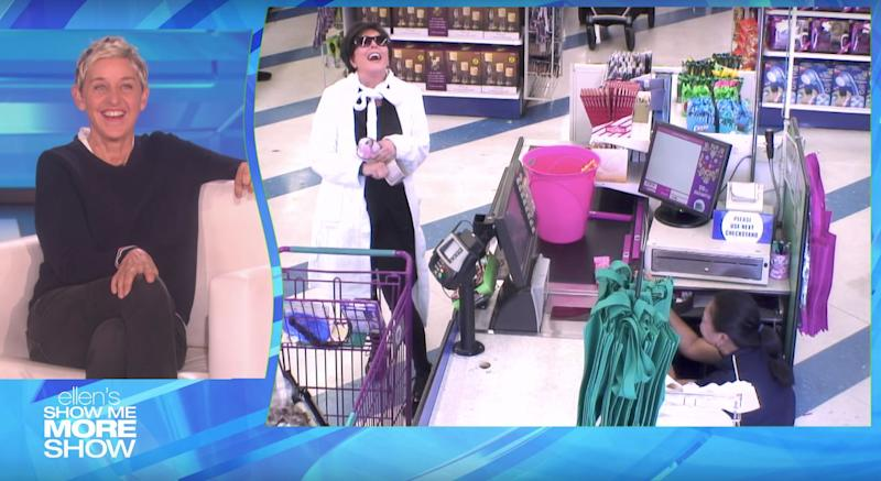 "Kris Jenner laughs loudly after telling the cashier, who briefly hid behind the register, that she was being pranked on ""The Ellen DeGeneres Show."""