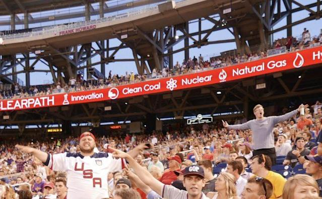 Fans in the Republican section at the 2017 congressional baseball game at Nationals Park. (Photo: Yahoo News/Hunter Walker)