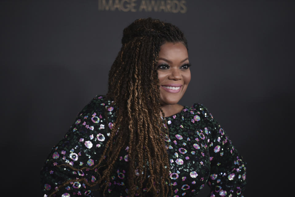 Yvette Nicole Brown arrives at the 51st NAACP Image Awards at the Pasadena Civic Auditorium on Saturday, Feb. 22, 2020, in Pasadena, Calif. (Photo by Richard Shotwell/Invision/AP)
