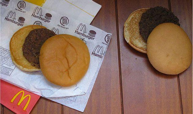 A McDonald's hamburger (left) from 1996 and another McDonald's hamburger (right) from 2008 reasonably resemble a hamburger you'd buy today. Photo: Karen Hanrahan, Best of Mother Earth.
