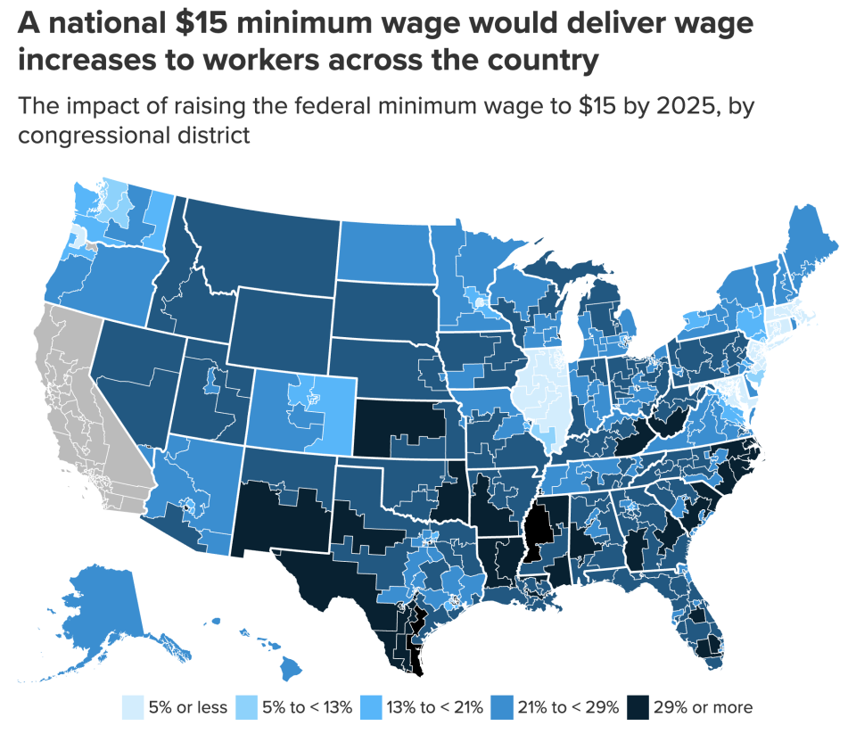 The estimated affects of a $15 minimum wage by county. (Economic Policy Institute)