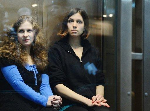Maria Alyokhina (left) and Nadezhda Tolokonnikova were given a two-year prison sentence for the cathedral performance