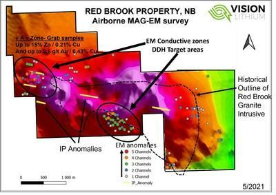 Figure 1 – Red Brook Drill Targets from MAG-EM  Survey (CNW Group/Vision Lithium Inc.)
