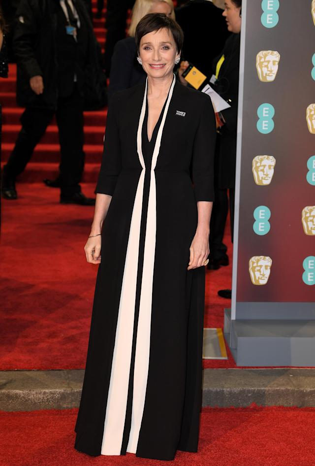 <p>The legendary British actress looked as chic as ever in a black-and-white, floor-sweeping ensemble by Dior. <em>[Photo: Rex]</em> </p>