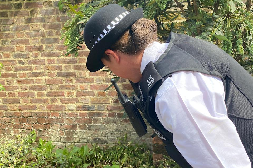 <p>An officer during the weapons sweep in London</p> (Metropolitan Police)