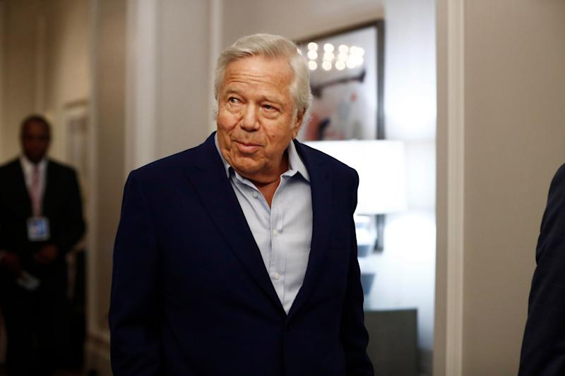 The trial of New England Patriots owner Robert Kraft has been suspended indefinitely pending an appeal. (AP Photo/Brynn Anderson)