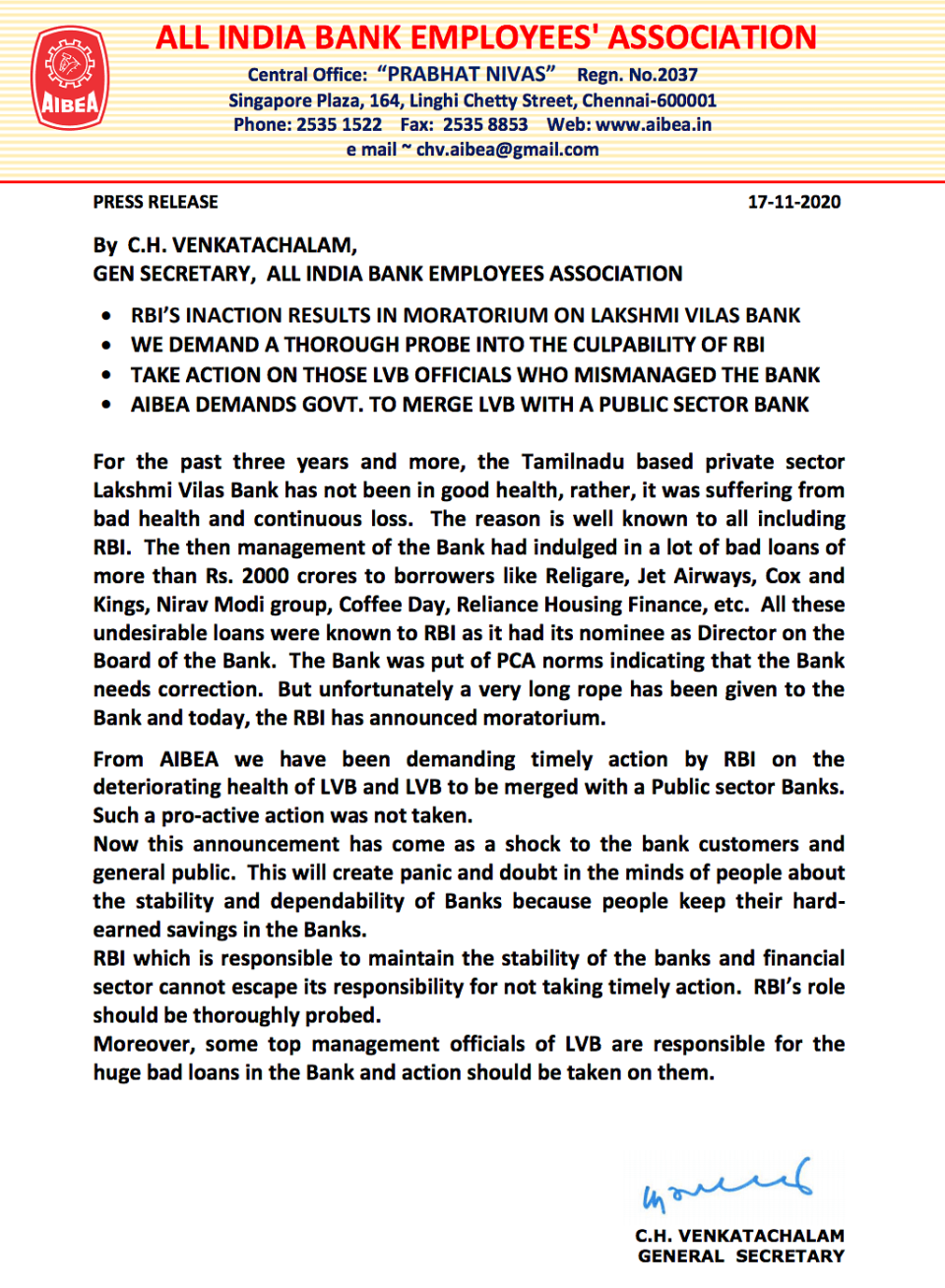 AIBEA has demanded a thorough probe into the culpability of the RBI.